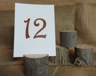 Set of Ten (10) Wood Table Number Holders