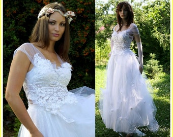Bohemian Princess French Lace and Tulle Ethereal Wedding Dress - Leila