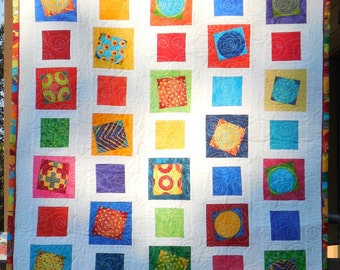 Modern quilt bright colors