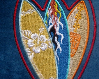 """Patch Embroidered Suede Surf'boards 6"""""""