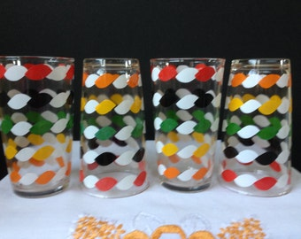 Glassware - Bar Ware - Tumblers - Multi-colored Decals -  rope Design - 1950's