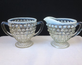 Hocking Glass, Opalescent Moonstone Hobnail, Cream and Sugar