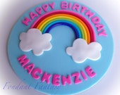 "Personalized 8"" Rainbow Cake Topper"