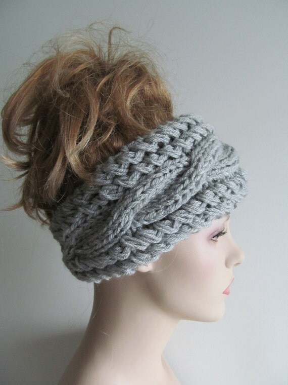 Grey Cable Headbands Knit Ear Warmers Button Gray Fall