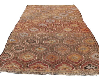 "Vintage Handwoven Wool Rug - Handmade Turkish Decorative Kilim Rug - 68,5""X106"" - Bohemian Home Decor - Antique Kilim Rug - Riot of Colors"