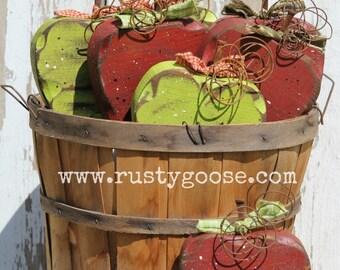 Apple, Apple Decor, Fall Decor, Teacher Gift, Harvest Decor, Apple Kitchen, Red Apple, Green Apple, Apple Lover, Wood Fruit