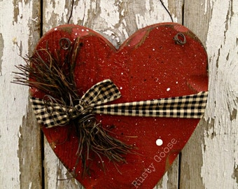 heart decor primitive wood barn red rustic decor rustic heart primitive