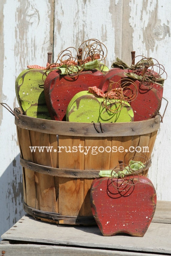 Apple apple decor fall decor teacher gift harvest decor for Apple decoration ideas
