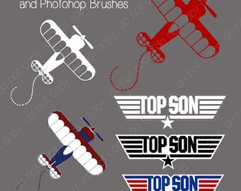 "Bi-Plane ""Top Son"" Top Gun Photoshop Brushes/ Overlays for Photographers / chalk/ Clip Art / Stamps / Digital Scrapbooking"