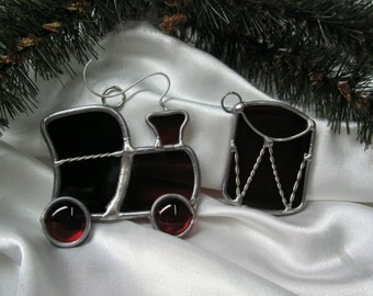 Train and Drum suncatchers or Tree Ornaments