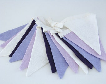 Bunting / Fabric Flag Banner / Pennant Nursery / Porch / Patio Decor / Photo Prop / Violet / Purple / Ivory