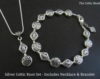Silver Celtic Knot Jewelry Set - Bracelet & Necklace