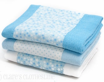Baby Burp Cloths - Blue and White Stars Burp Cloth Set of 3 - READY TO SHIP