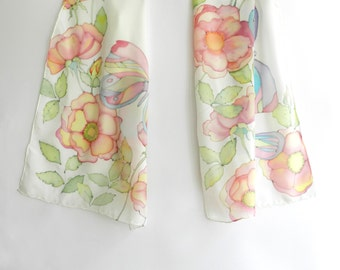 Pastel colored butterflies silk scarf. Hand painted  butterflies. Hand painted silk scarf. Ready to ship.