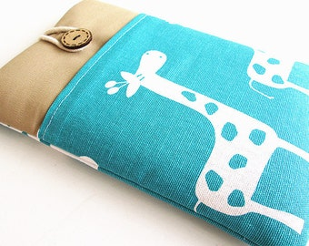 Giraffe Kindle Sleeve Pocket , Kindle fire sleeve cover, nook cover, Google nexus 7 case
