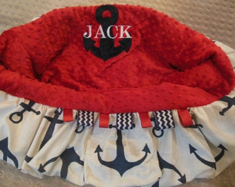 Navy and Red Anchor Shopping Cart Cover