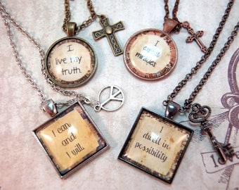 Affirmation Necklace Custom Quote Pendant and Charm Necklace in Matching Gift Tin Personal Mantra Jewelry for Friend Teen Mom