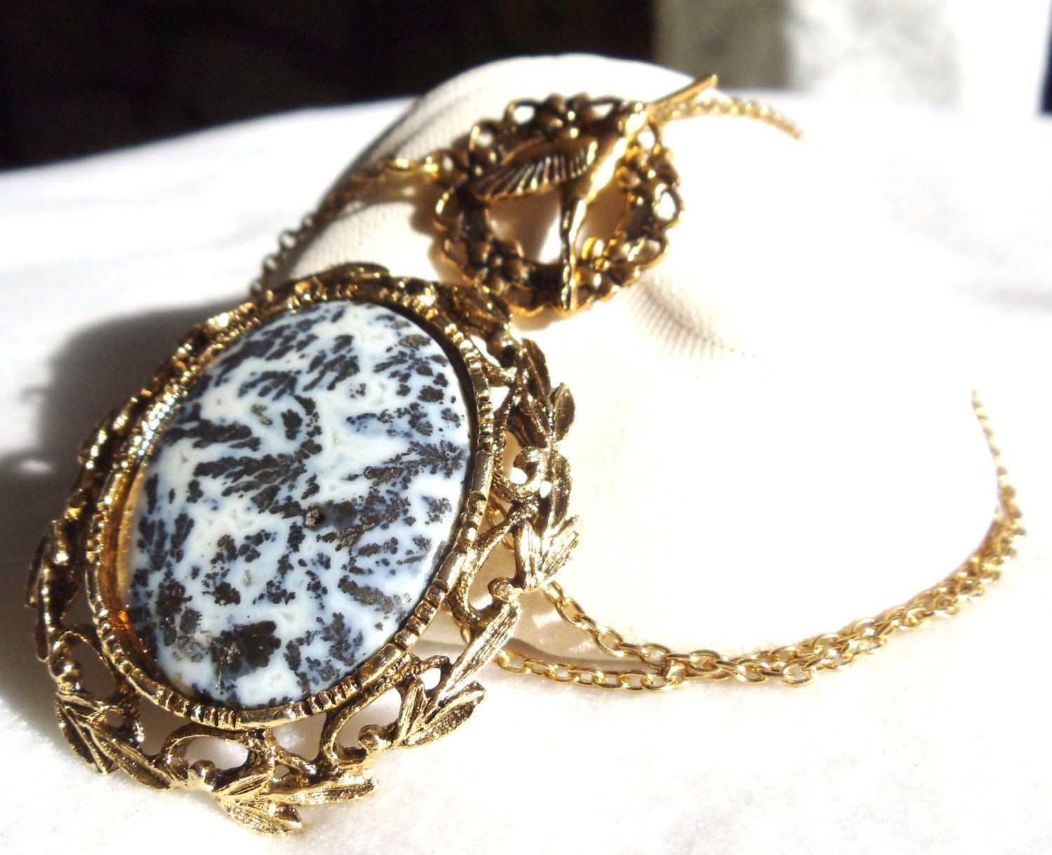 Golden Moss Agate: Moss Agate Pendant Black And White In Gold By