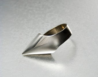 "NAIL_05 ring from ""HOLE & NAIL"" Collection. Unique Limited Edition of modern alpaca rings. Punk trend style."