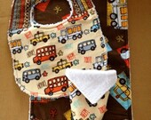 3pc Baby Gift set - Beep Beep, Toot Toot! Bib, Burping / Changing Pad, washcloth
