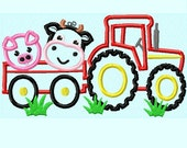 Tractor with Cow and Pig APPLIQUE Embroidery Design 2 sizes  INSTANT DOWNLOAD