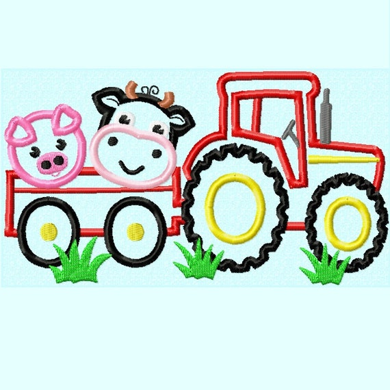 Tractor with cow and pig applique embroidery design sizes