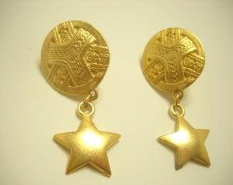 Gold Tone Disc & Star Dangle Earrings (2798) Clip/Screwback