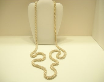 """Vintage 55"""" Four-Strands Intertwined Faux Pearl Necklace (4773)"""