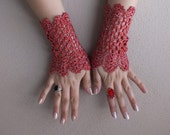 wedding accessories  bride fingerless gloves red sequined glove,  viktoria-style gloves, 2014 trends ,valentines day  Free Ship