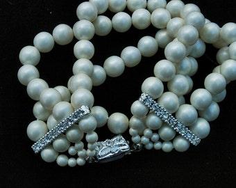 Faux Pearl Rhinestone Bracelet Wedding Special Occasion Vintage 4 Strand JAPAN