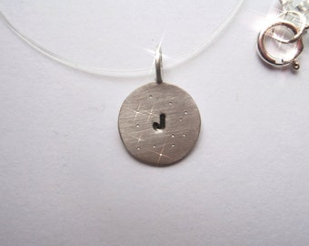 Initial necklace with Celestial finish in Sterling Silver