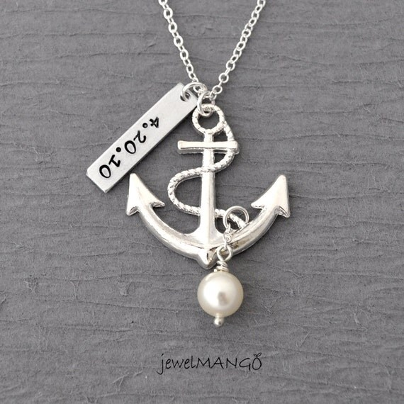 Personalized shiny anchor necklace, keepsake necklace, hand stamping, special day, anniversary, wedding date, engagement, nautical