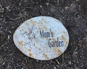 Mom's Garden Engraved Stone