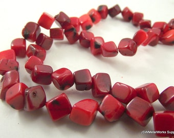 Red Bamboo Coral Beads, 8 x 8 mm - 9 x 9 mm Dice Beads, Square Beads, 15 Inch Strand, Whole Strand