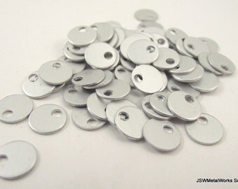 100 0.35 Inch Frost Anodized Aluminum Tags, Small Blank Discs