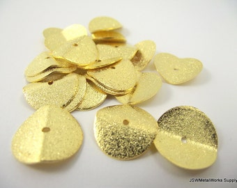 Wavy Gold Rondelles, Spacer Beads, Textured Wavy Rondelle, 17 x 3 mm, 20 Pieces