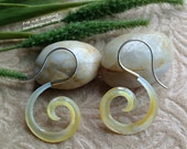 """Tribal Hanging Earrings, """"Golden Shell Curls"""" Naturally Organic, Mother of Pearl, Brass Tops, Sterling Silver Posts, Hand Carved"""