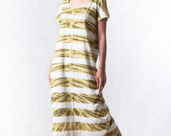 NO.109 Yellow, Olive and Off White Cotton Jersey Tie-Dye Striped Shirt Dress