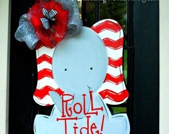 Door Hanger: Alabama Football, Wooden Football Door Decoration, Roll Tide Decor, Alabama Crimson Tide