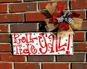 Football Sign, Custom Football Door Hanger, Roll Tide Sign