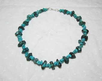 Genuine Turquoise Nugget Necklace Chips, Nuggets and Sterling Silver