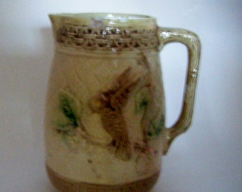 Antique Victorian Majolica Pitcher With Bird On Cherry Blossom Branch And Basketweave Design Branch Handle