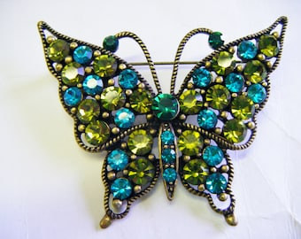 Vintage Rhinestone Butterfly Brooch Stunning Blues and Greens