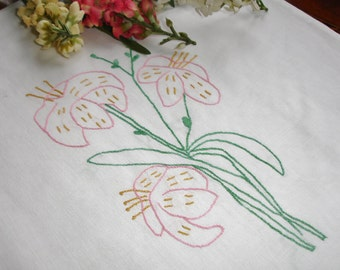 Hand Embroidered Pillowcover circa 1960s handmade