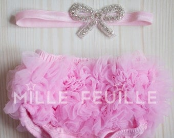 Ruffle Bloomers - Pink-  Clear crystal bow headband - for newborn, baby or toddler first birthday