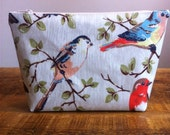 Cosmetic bag made in Cath Kidston bird print oilcloth