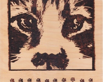 Pussy Cat, up close and personal woodburn with pawprints for cat lovers decor wall plaque