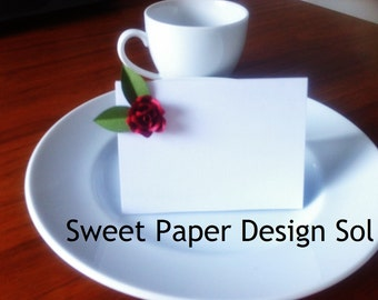Set of 10 - Handmade Paper quilled Rose or lavender Wedding Place Cards, Wedding Escort Cards ,Seat Cards