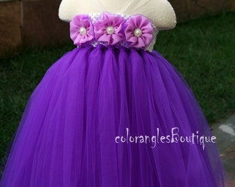 Flower Girl Dress Purple tutu dress baby dress toddler birthday dress wedding dress 12-18M 2T 3T 4T 5T 6T