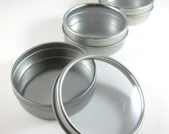 3 Window Round Steel Tin Cans (2 oz.) Favor Boxes Metal Containers